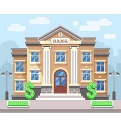 Bank building with cityscape Business and finance vector image vector image