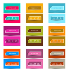 Business Card Retro Colorful Simple Layout - vector image