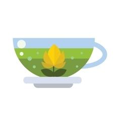 Cup of fresh hot green tea vector image