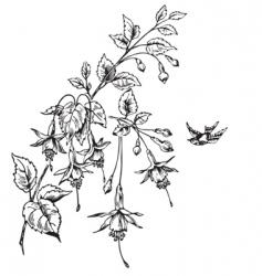retro flowers engraving vector image