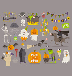 set of halloween sign symbol and characters vector image vector image