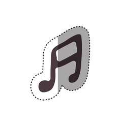 sticker hand drawing silhouette musical note icon vector image