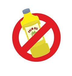 Stop palm oil Ban on Palm oil bottle Banning Red vector image