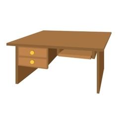 Wooden office desk cartoon icon vector image