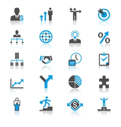 Business flat with reflection icons vector image vector image
