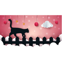 cartoon paper landscape cat vector image vector image
