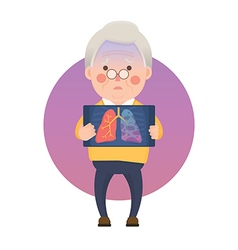 Senior Man with Lung Cancer Problem vector image vector image