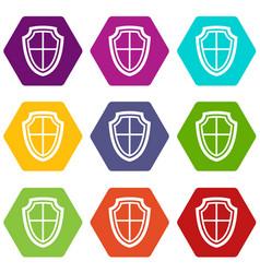 shield icon set color hexahedron vector image