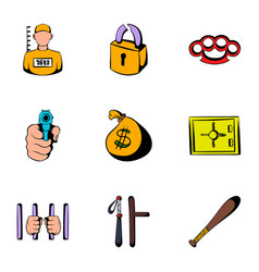Criminal icons set cartoon style vector