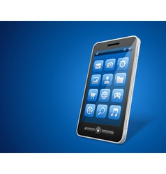 Mobile phone and icons vector image vector image