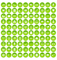 100 coin icons set green circle vector