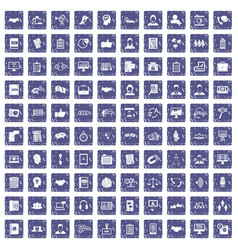 100 discussion icons set grunge sapphire vector image
