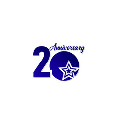 20 years anniversary celebration star blue logo vector