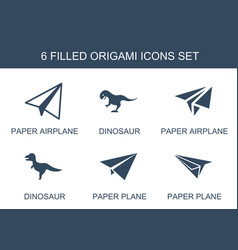 6 origami icons vector