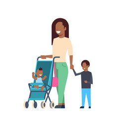 african mother with new born baby children in vector image
