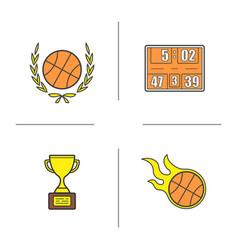 basketball championship color icons set vector image