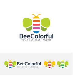 bee colorful logo design vector image
