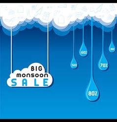 Big monsoon sale banner or poster design vector