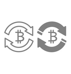 Bitcoin exchange line and glyph icon vector