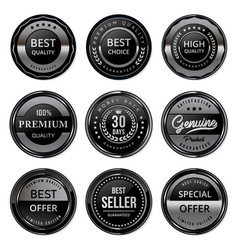 black and silver quality labels vector image