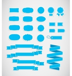 Blue price tags ribbons and labels vector
