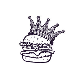 burger with crown hand drawn fast food logo vector image