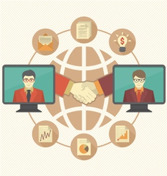 Business cooperation concept with brown globe vector
