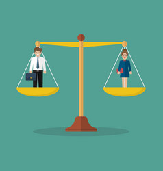 businessman and woman balancing on scales vector image