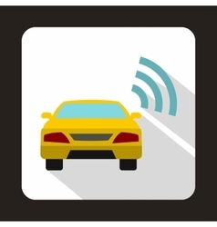 Car with wifi sign icon in flat style vector