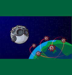 cartoon moon in medical mask and infected planet vector image