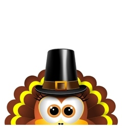 cartoon turkey in a pilgrim hat card vector image