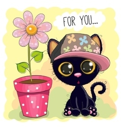 Cat with flower vector