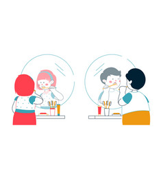 children brushing teeth - colorful line design vector image