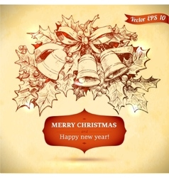 Christmas and New year holidays hand drawn vector image