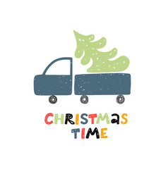 christmas time greeting card car with vector image