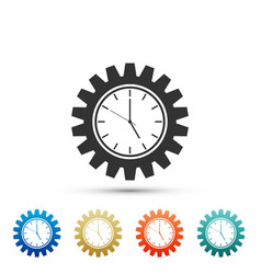 clock gear icon isolated on white background vector image