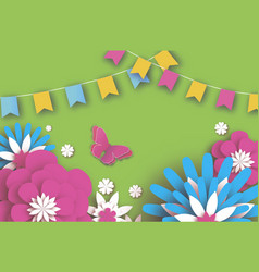 colorful happy floral greeting card paper cut vector image