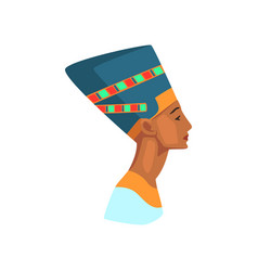 Colorful of egyptian queen statue of vector