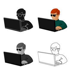 Computer hacker icon in cartoon style isolated on vector