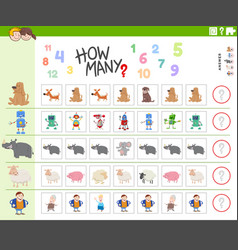 Counting task for kids with funny characters vector
