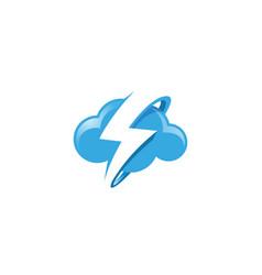 creative blue cloud thunder logo vector image