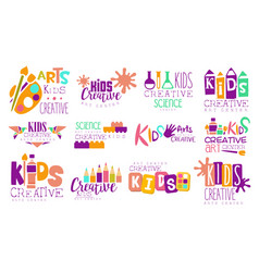 Creative kids logo set arts and science centre vector