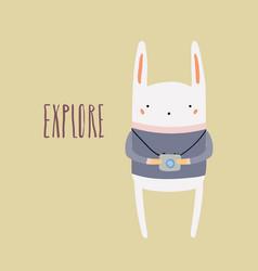 Cute bunny with photo camera vector