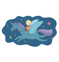 cute cartoon boy flies on a pegasus little prince vector image