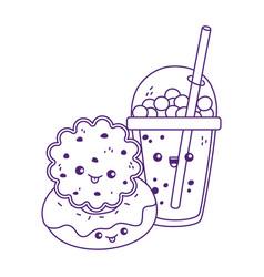 Cute cookie and donut milkshake kawaii cartoon vector