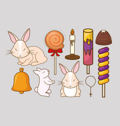 cute rabbits and candies design vector image