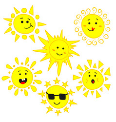 cute sun with funny emotions characters set vector image