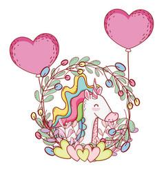 Cute unicorn cartoons vector