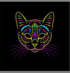 Decorative psychedelic cat portrait on black vector