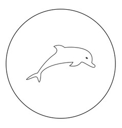 Dolphin icon black color in circle vector
